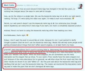 matt cutts comment about description tags