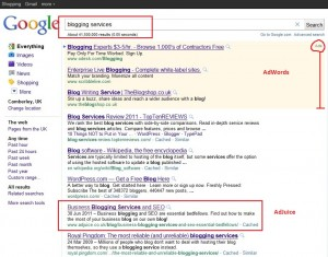 blogging services google search results