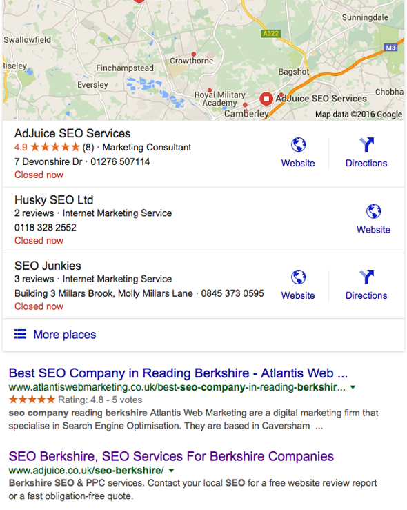 SEO companies Berkshire - google search results