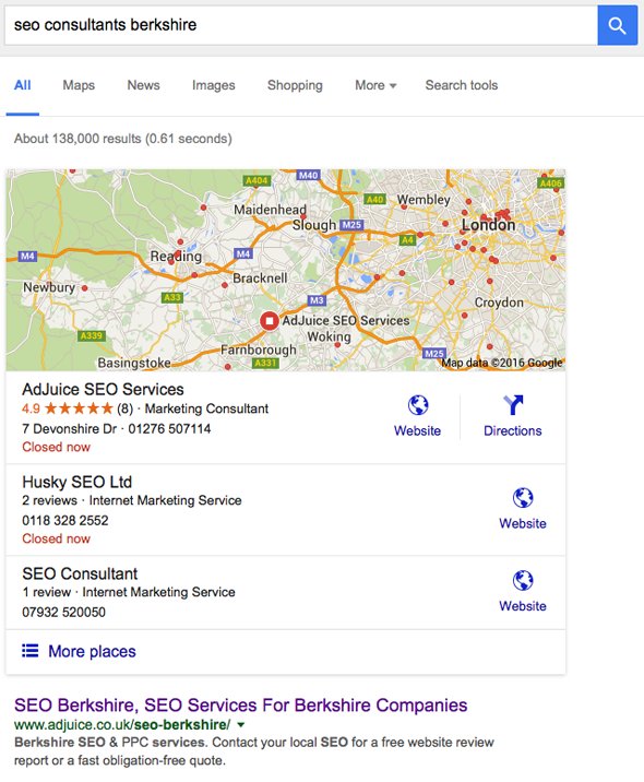SEO consultants Berkshire - google search results