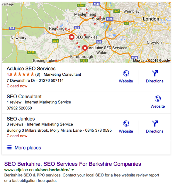 SEO specialist Berkshire - google search results