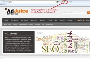 Screenshot of Google Toolbar PageRank - AdJuice Home Page