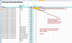 Example of page title tag character count in Excel