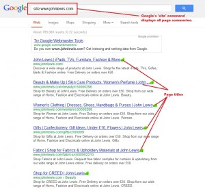 Example of page titles using google site command