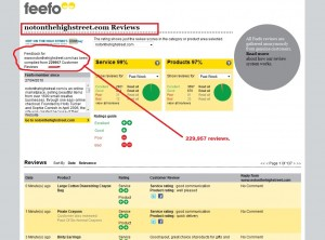 Feefo summary stats for notonthehighstreet.com