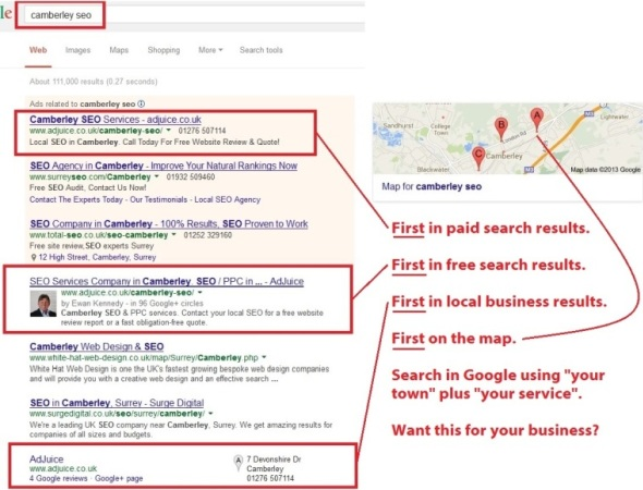 Camberley SEO / PPC Search Results