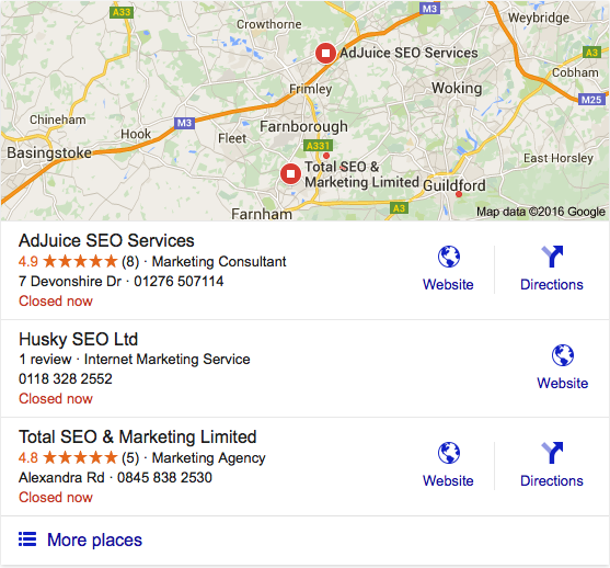 SEO Camberley google local search results