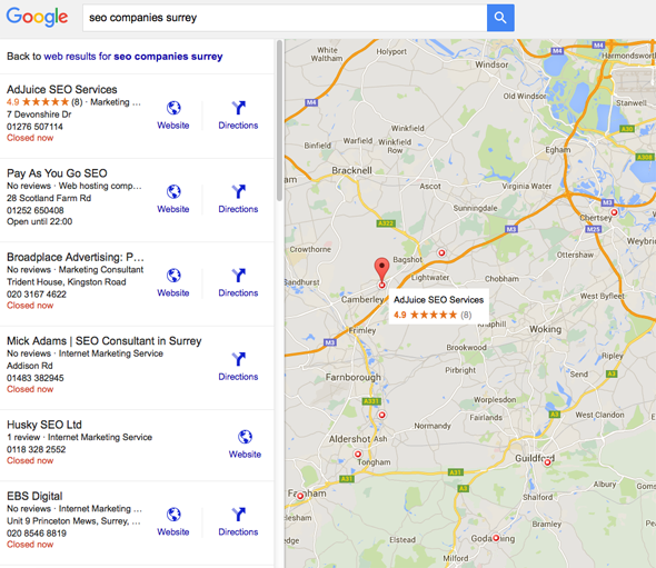 SEO Companies Surrey google maps results