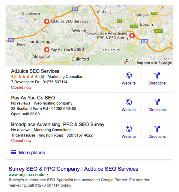SEO Surrey google local search results