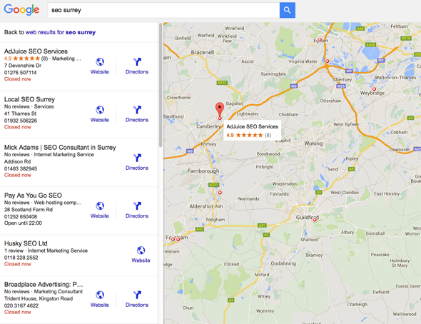 Google map search results for SEO Surrey