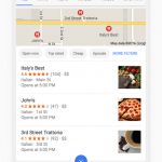 Local business search results in Google