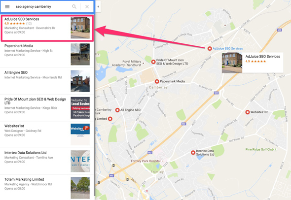Google maps search for SEO agency Camberley