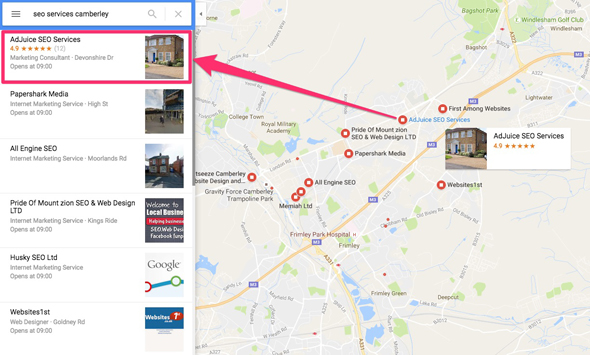 Google maps search for SEO services Camberley