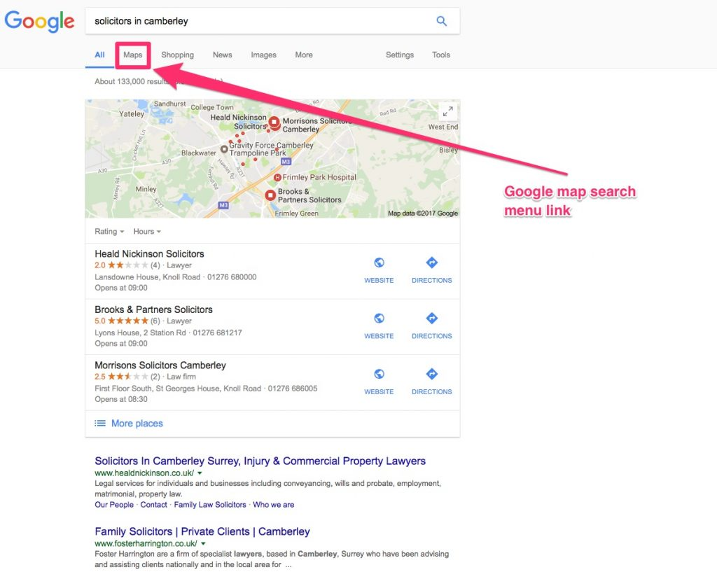 Google map search menu link