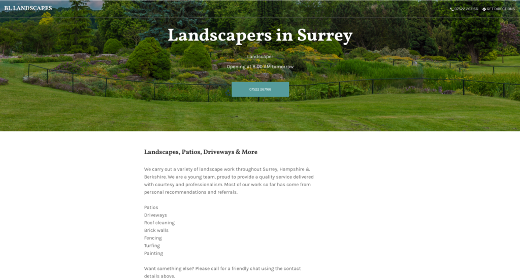 BL Landscapes website