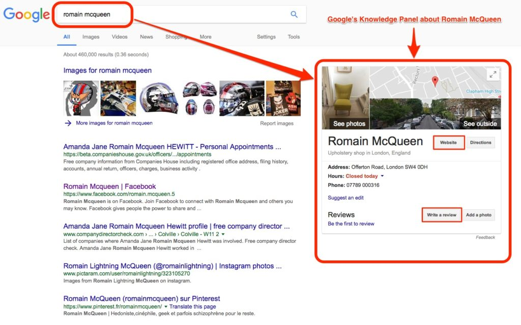 Romain McQueen in Google's Knowledge Panel
