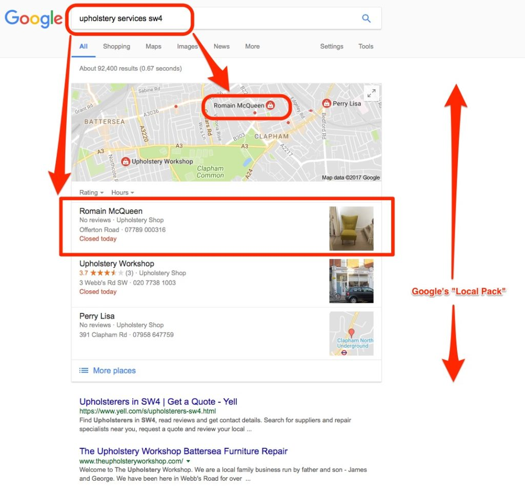 Romain McQueen in Google's Local Pack