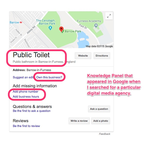 Knowledge Panel appeared in Google when I searched for a particular digital media agency