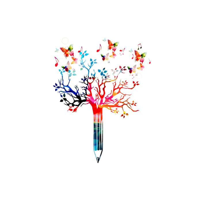Colorful pencil tree illustration with butterflies