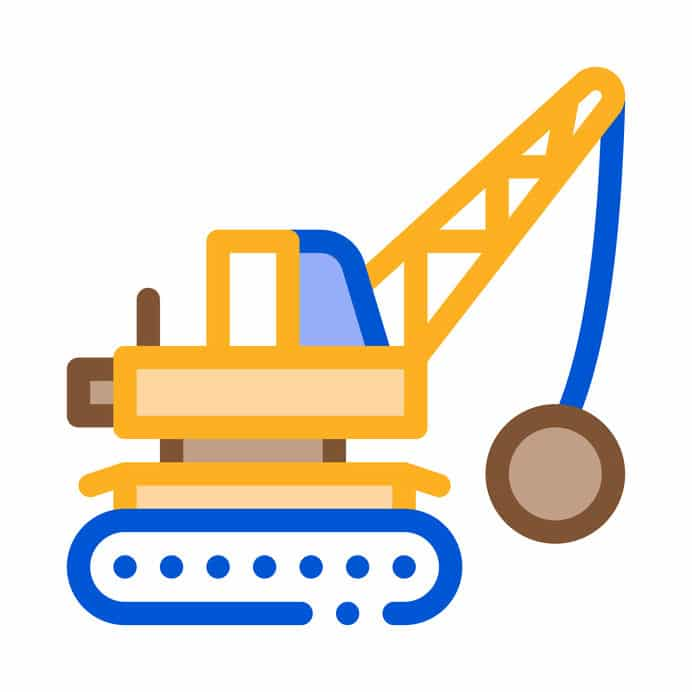 Crane with wrecking ball vector outline illustration