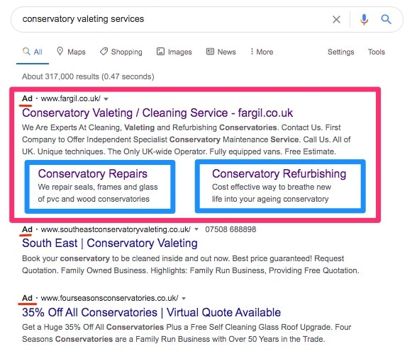 Screen shot of search ad with ad extensions