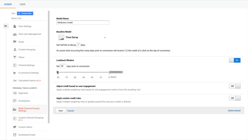 Google analytics admin settings attribution model screen
