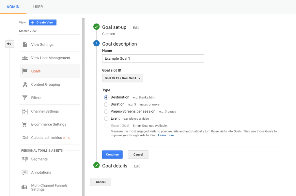 Google analytics admin settings goal description screen