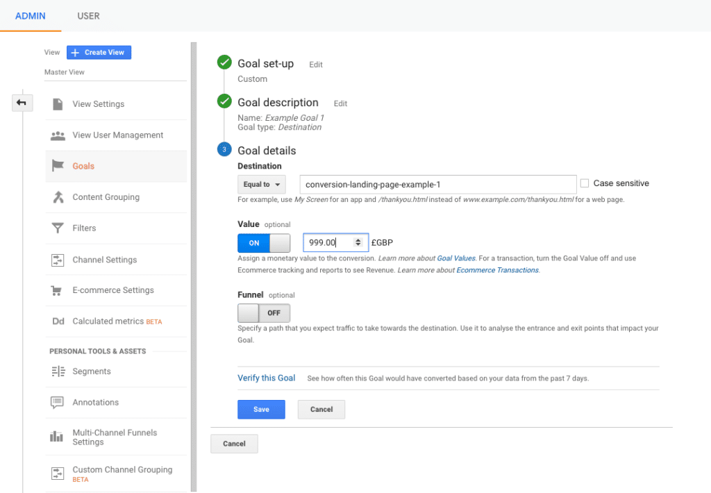 Google analytics admin settings goal details screen