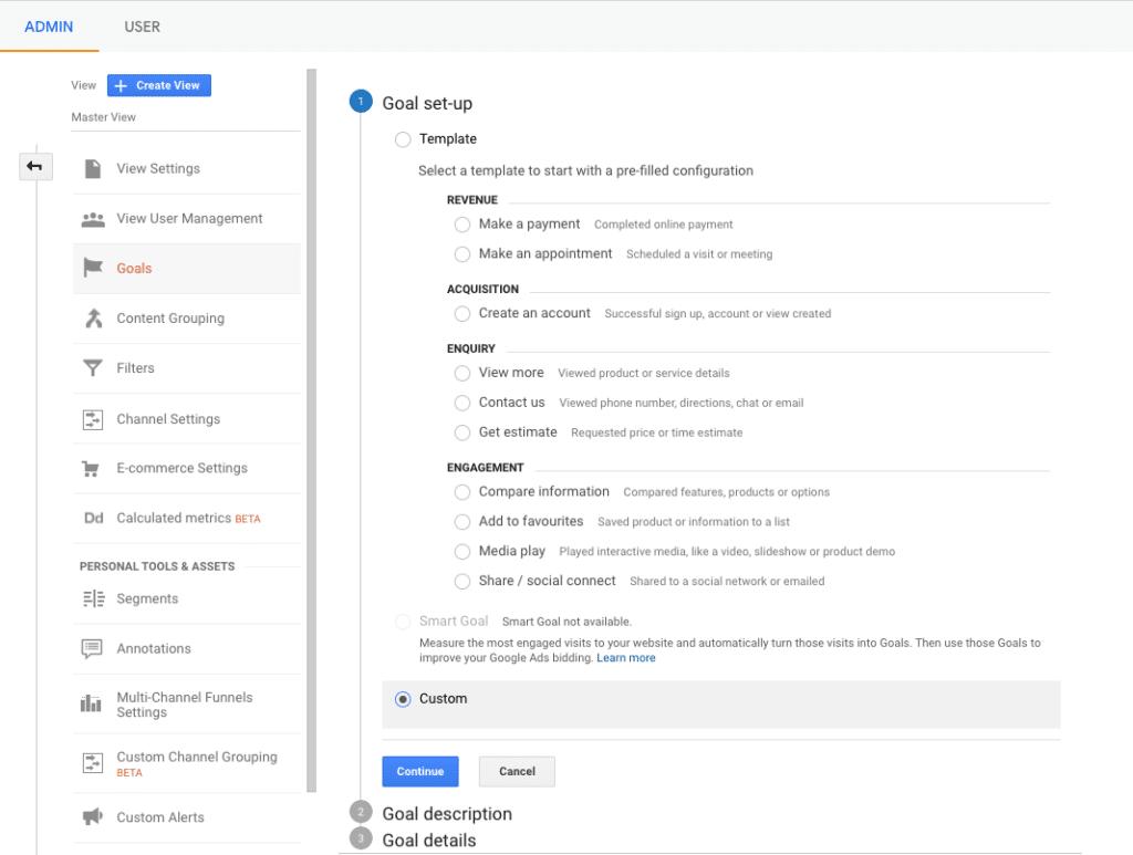 Google analytics admin settings goal set up screen